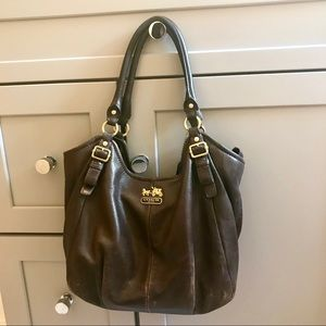 Brown leather Coach hobo